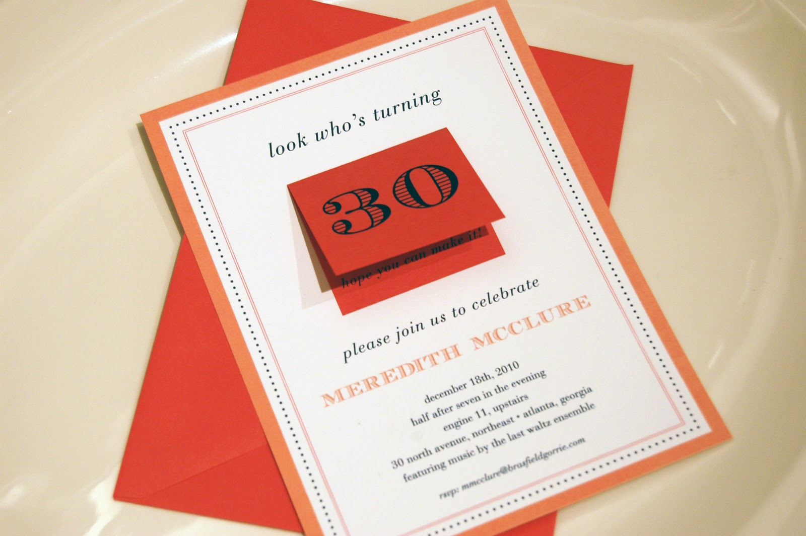 30th Birthday Party Invitation With A Mini Folded Card For Details