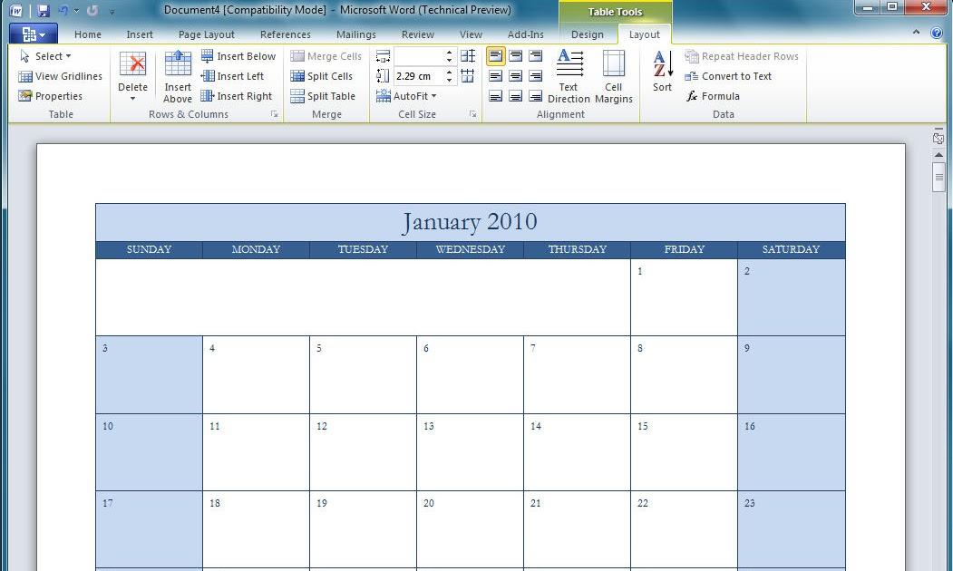40 Microsoft Calendar Templates Free Word Excel Mandegarfo