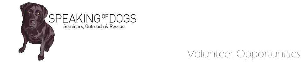 Speaking Of Dogs Volunteer Opportunities