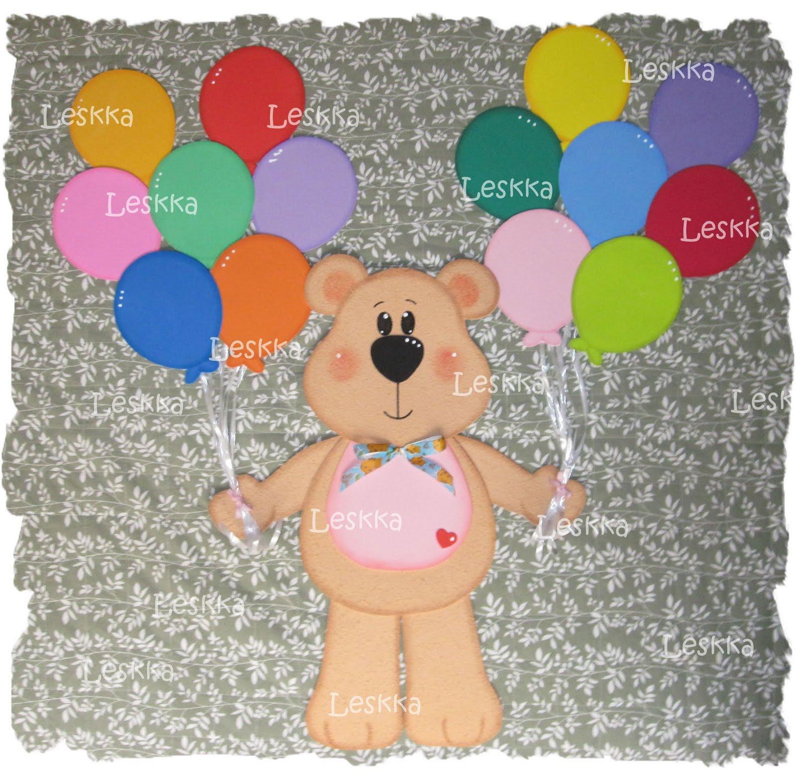 Leskka Arte Em Eva Painel Urso Com Balões