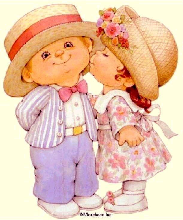 Открытки девочка целует мальчика
