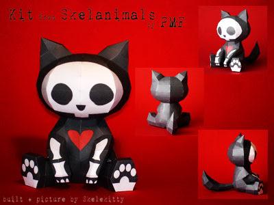 Skelanimals Papercraft - Kit the Cat