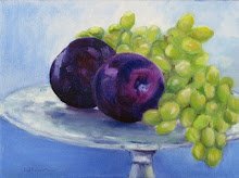 Plums and Grapes on Glass Plate