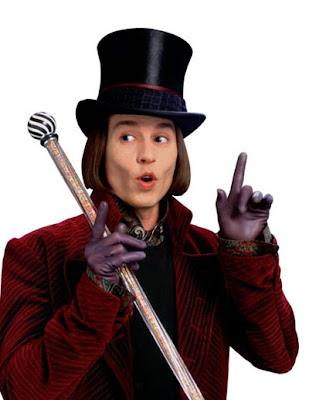 Johnny Depp as Willy Wonka At Charlie And The Chocolate Factory