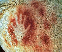Paleolithic handprint from the cave at Pech-Merle