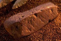 Engraved piece of ochre found in Blombos cave