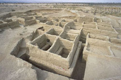 The remains of the Neolithic town of Mehrgarh