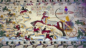 Pharaoh Ahmose I fighting the Hyksos