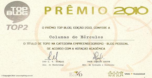 Top 2 do Prêmio Top Blog 2010 na Categoria Empreendedorismo pelo júri Acadêmico