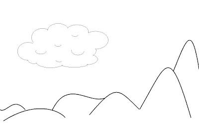 nuvem e montanha para imprimir e colorir
