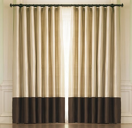The reluctant blogger banded diy drapery panel for Restoration hardware silk curtains