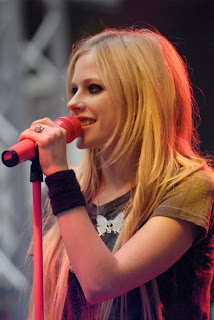 Celebrity Avril Lavigne long punk hairstyle