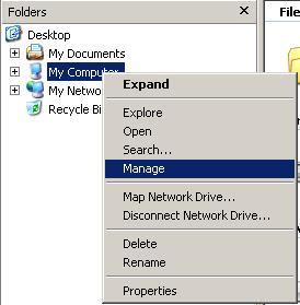 manage drive windows xp