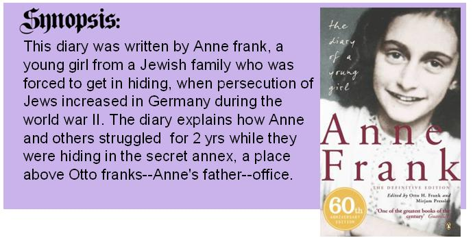 book report over anne frank Information and articles about anne frank which she wrote for just over margot received a call-up notice to report for deportation to a labor camp.