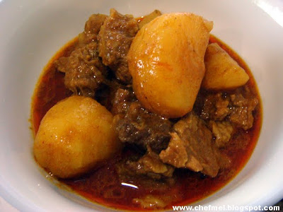Lastly! We had the beef curry with potatoes. We cook this in a big pot ...