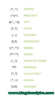 dicionário de caracteres emoticons