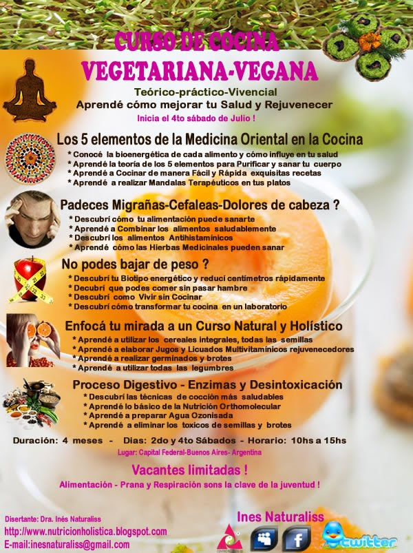 Naturaliss te ense a a vivir sano curso de cocina vegetariana vegana inicia 4to s bado de julio - Curso de cocina vegetariana ...