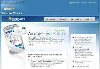 Web de Hotmail Movil