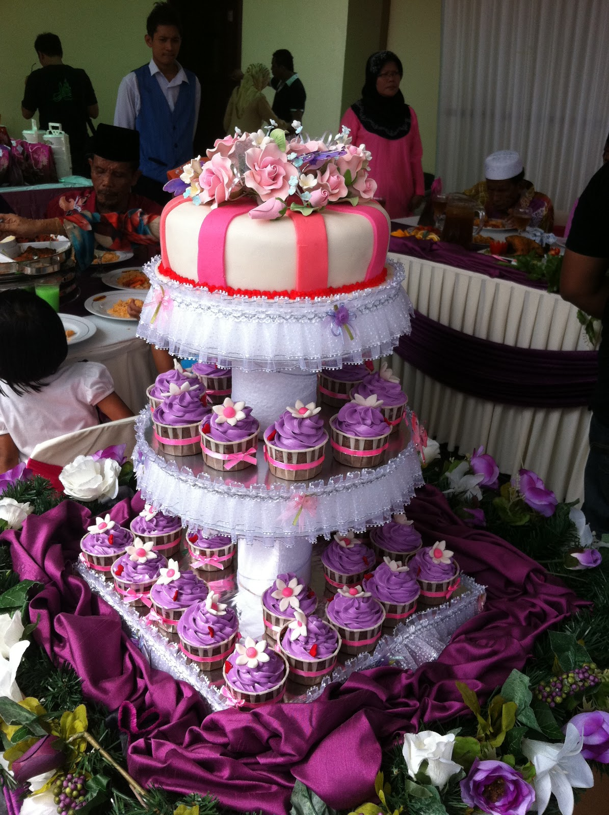 Purple & Pink Wedding Cake