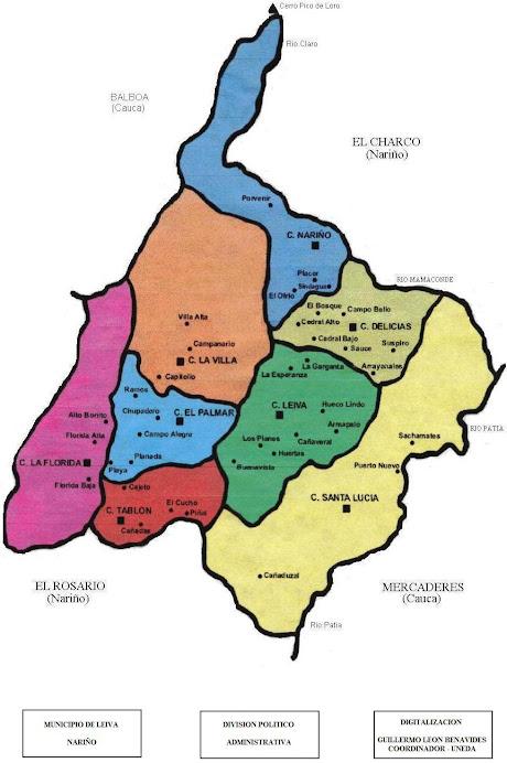 Mapa Politico Municipio de Leiva Nariño