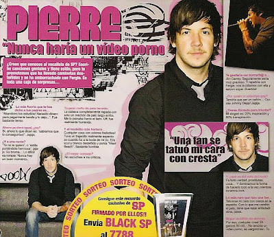 The spanish magazine Black did an interview with Pierre Bouvier during