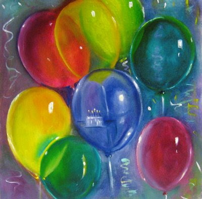 painting of balloons against blue background