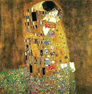 Klimt painting the kiss, in golds and texture