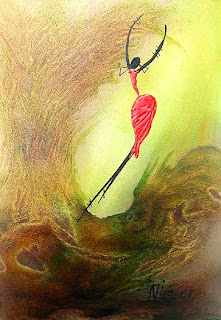 joyful dancing girl on yellow background