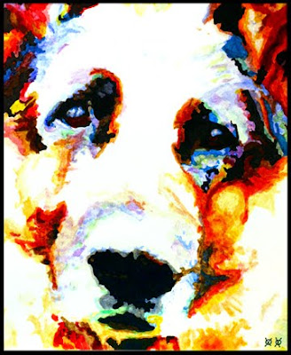 face of dog painted in primary colors, by a blind painter