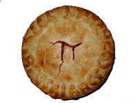cherry pie with pi symbol carved in top crust