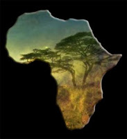 painting of African veldt in shape of African continent