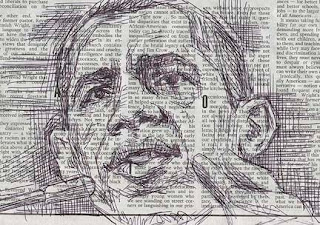 portrait of Obama drawn with pen on newspaper
