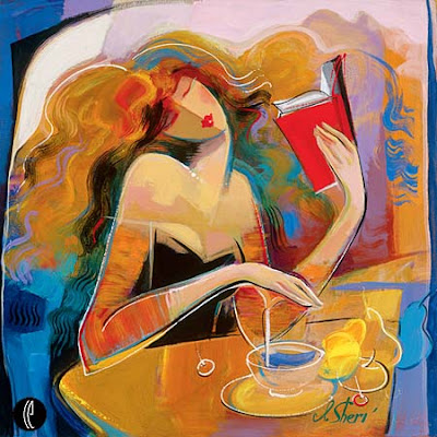 abstract of woman reading a book. Called poetry reading