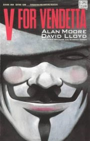 graphic novel cover, v for vendetta over paper mache mask
