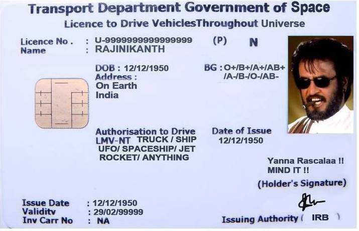 ~~Rajini Mania~~ Rajnikanth_driving_license