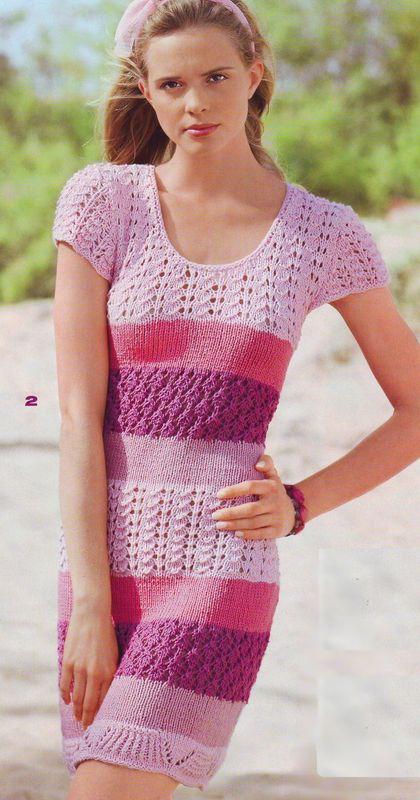 Скроенное по фигуре летнее платье, связанное из хлопковой пряжи яркими узорчатыми полосами, позволяет любоваться...