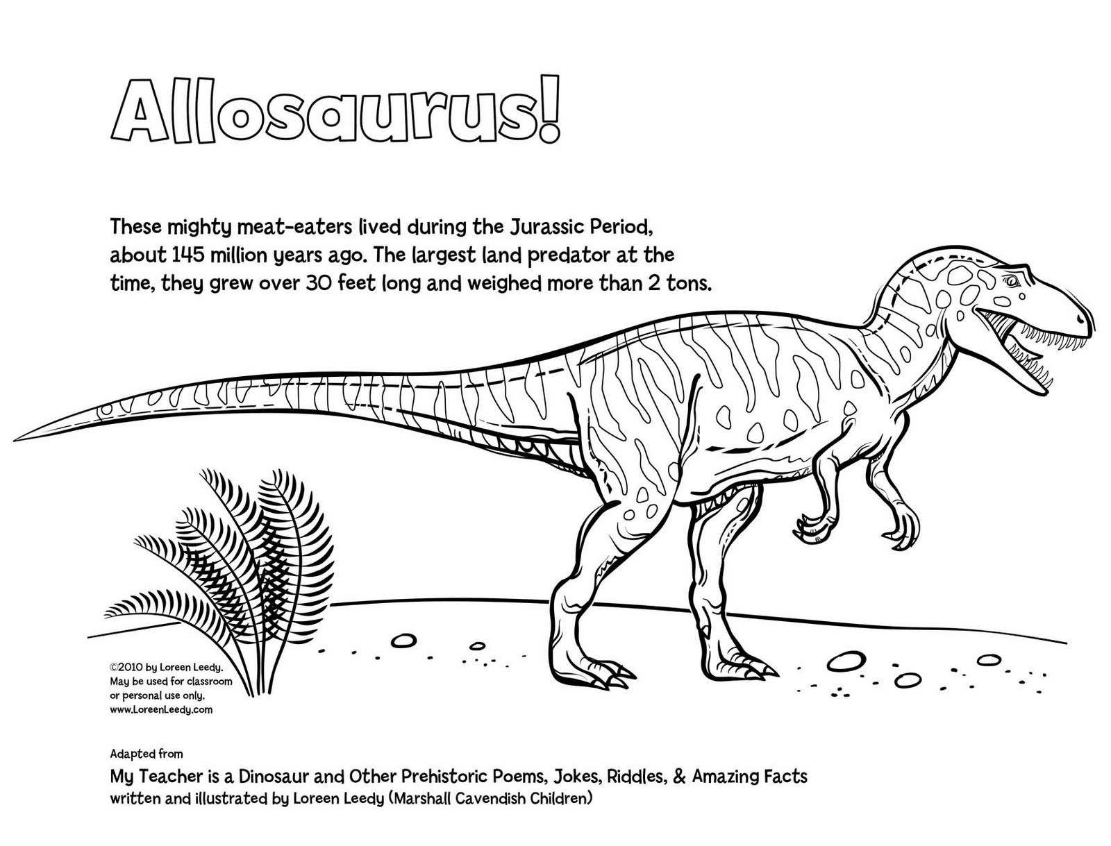 Loreen Leedy Books More My Teacher Is A Dinosaur Free Allosaurus Coloring Page