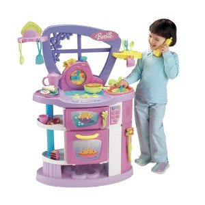 Toddler Talking Barbie Play Kitchen With Refrigerator
