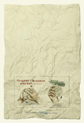 Origami: bolas para el árbol de Navidad