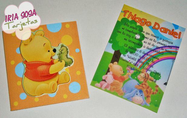 Iria Sosa Tarjetas: Winnie the Pooh bebé. Primer Añito Thiago Daniel