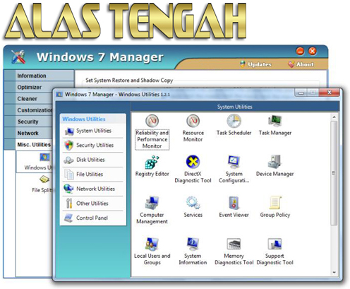 Feature yang di tawarkan pun diantaranya Information Get detailed system and all hardware information on your system; help you find out the installation key of Windows, Office products; show all detailed information of running processes and threads on your machine; Windows 7 Manager offers  1-clicking cleans your system automatically. Optimizer Tweak your system to improve windows startup and shutdown speed; tweak your hardware to increase system speed and performance; Optimize Task Schedule to turn off unnecessary system tasks. Cleaner Find out which files or folders engross your disk space and shown with chart; Find and clean junk files to increase Hard Disk space; Duplicate Files Finder can scan your computer for files with the same size, name and modification time; Registry Cleaner can easily checks your registry and repair incorrectly linked registry entries, automatically remove invalid entries; Registry Defrag rebuilds and re-indexes your registry to reduce registry access time and therefore improve application responsiveness. Customization Control what is started on Windows startup; Create the quick startup items on Taskbar with the Jump List quick launcher; Tune up Windows 7 boot menu; edit context menus of mouse Right-Clicking; customize system desktop, menus, toolbar and notifications settings; customize the look of your system. Security You can improve desktop, menus, Windows logon securities, and enable numerous hidden performance options of system, disable system updates and error reports; hide and restrict to access drives, specify which applications are not allowed to be executed on your computer; encrypt/decrypt and shred files, change the location of system folders; Privacy Protector can maintain your personal privacy by eliminating the tracks that you leave behind; create lots of randomization password once. Network Optimize your Internet connection speed, manage all shares items; tweak your Internet Explorer easily. Misc. Utilities Show the colle