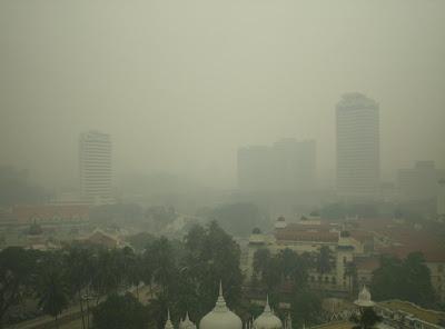 A hazy day in Kuala Lumpur, Malaysia.
