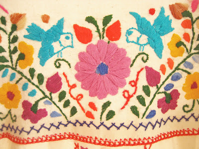 Site Blogspot  Tunic Dress on Mexican Embroidered Birds Vtg Tunic Tent Aida Coronado Mexico Dress