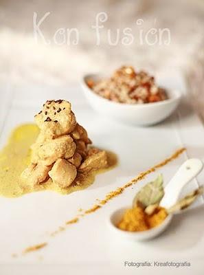 Pollo salsa coco curry arroz basmati frutos secos Receta hindu especia