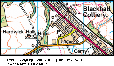 Map of the Hardwicke Hall area