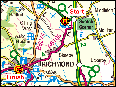 Map of the Scotch Corner to Richmond area