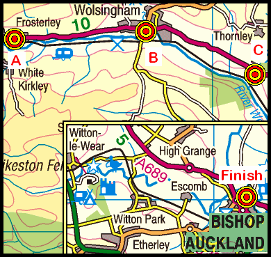 Map of the Frosterley to Bishop Auckland area