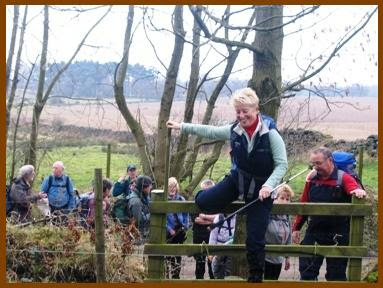 Climbing the stile at Bank Foot