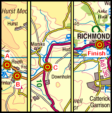 Map of the Reeth to Richmond area