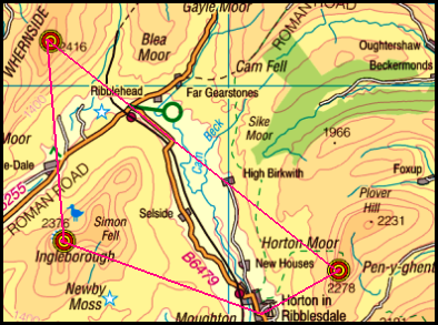 Map of the Three Peaks area